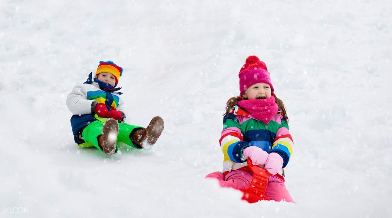 kids playing with the snow